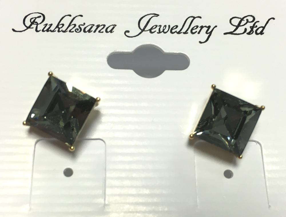 Ladies Crystal Square Black Diamante Single Stud Earings