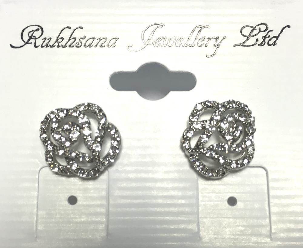 Ladies Crystal Rose Design Clear Diamante Stud Earings