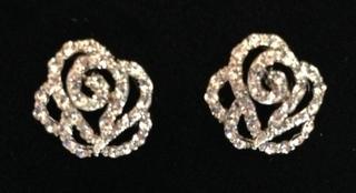 Ladies Crystal Rose Design Clear Diamante Stud Earings Thumbnail 2