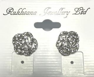 Ladies Crystal Rose Design Clear Diamante Stud Earings Thumbnail 1