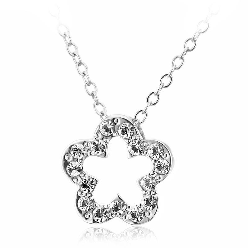 by coppercraft swarovski diamante flower pendant