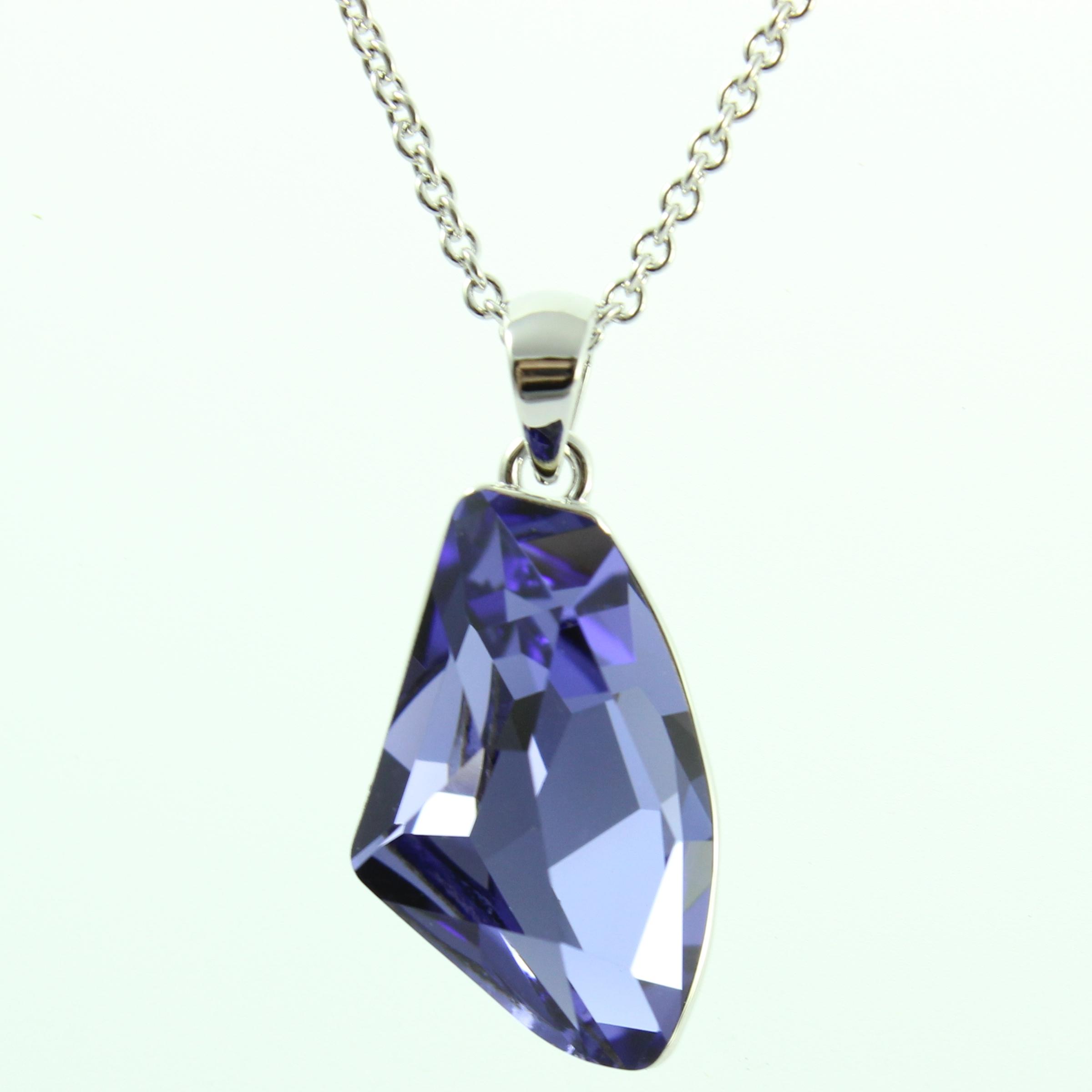 by coppercraft swarovski purple diamante pendant