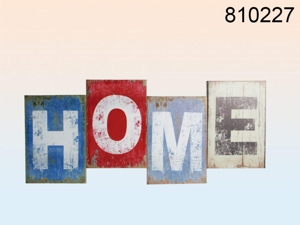 "Extra Large 60Cm Vintage Look Decorative Canvas Print Sign ""Home"" Wall Art"