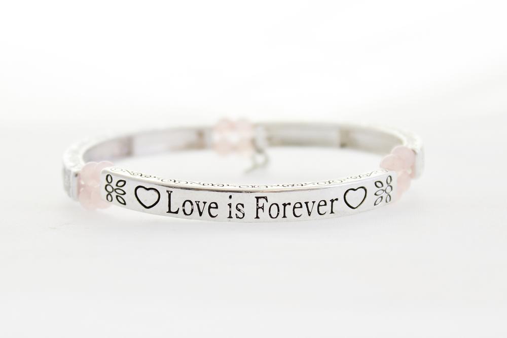 Pure By Coppercraft Sentiment Bracelet - Rose Quartz - Love Is Forever