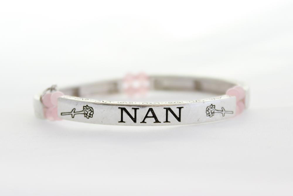 Pure By Coppercraft Semi Precious Stone Sentiment Bracelet - Rose Quartz - Nan