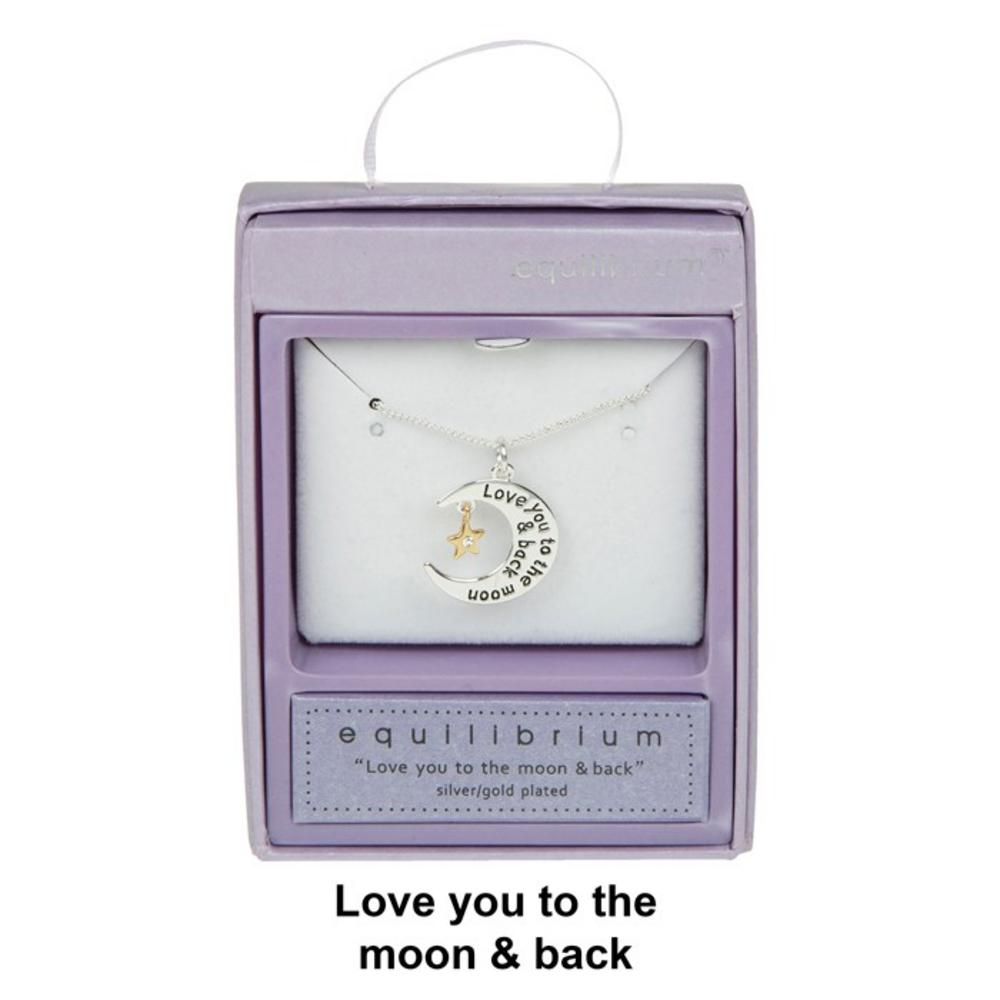 Love You To The Moon And Back Silver Plated Necklace Boxed By Equilibrium