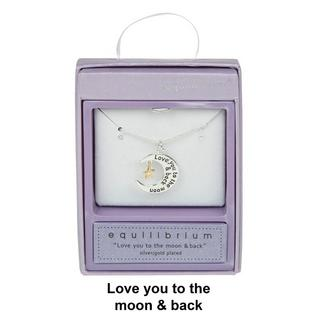 Love You To The Moon And Back Silver Plated Necklace Boxed By Equilibrium Thumbnail 1