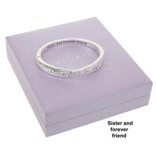 Sister And Forever Friend Silver Plated Bangle Boxed By Equilibrium Bracelet Thumbnail 1