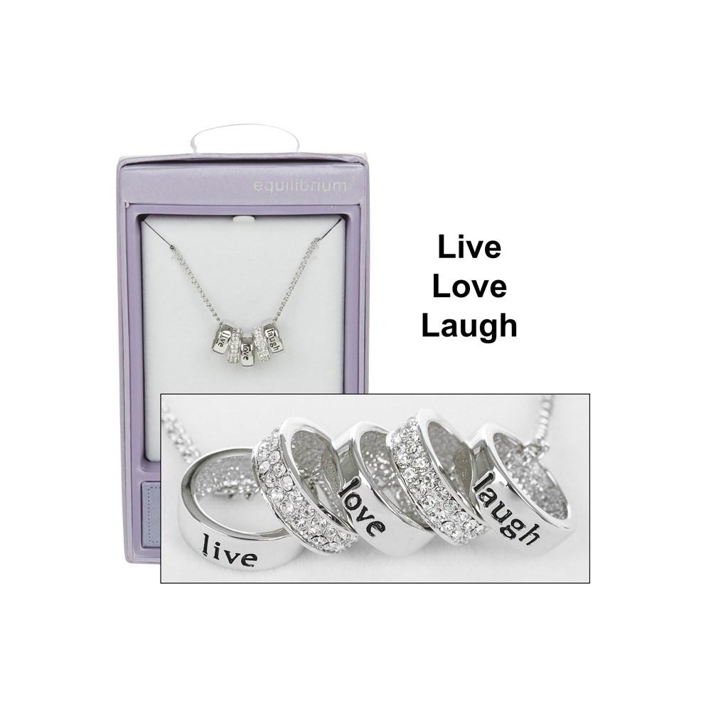Live Love Laugh Silver Plated Five Ring Message Necklace Boxed By Equilibrium