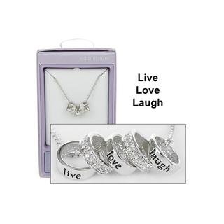 Live Love Laugh Silver Plated Five Ring Message Necklace Boxed By Equilibrium Thumbnail 1