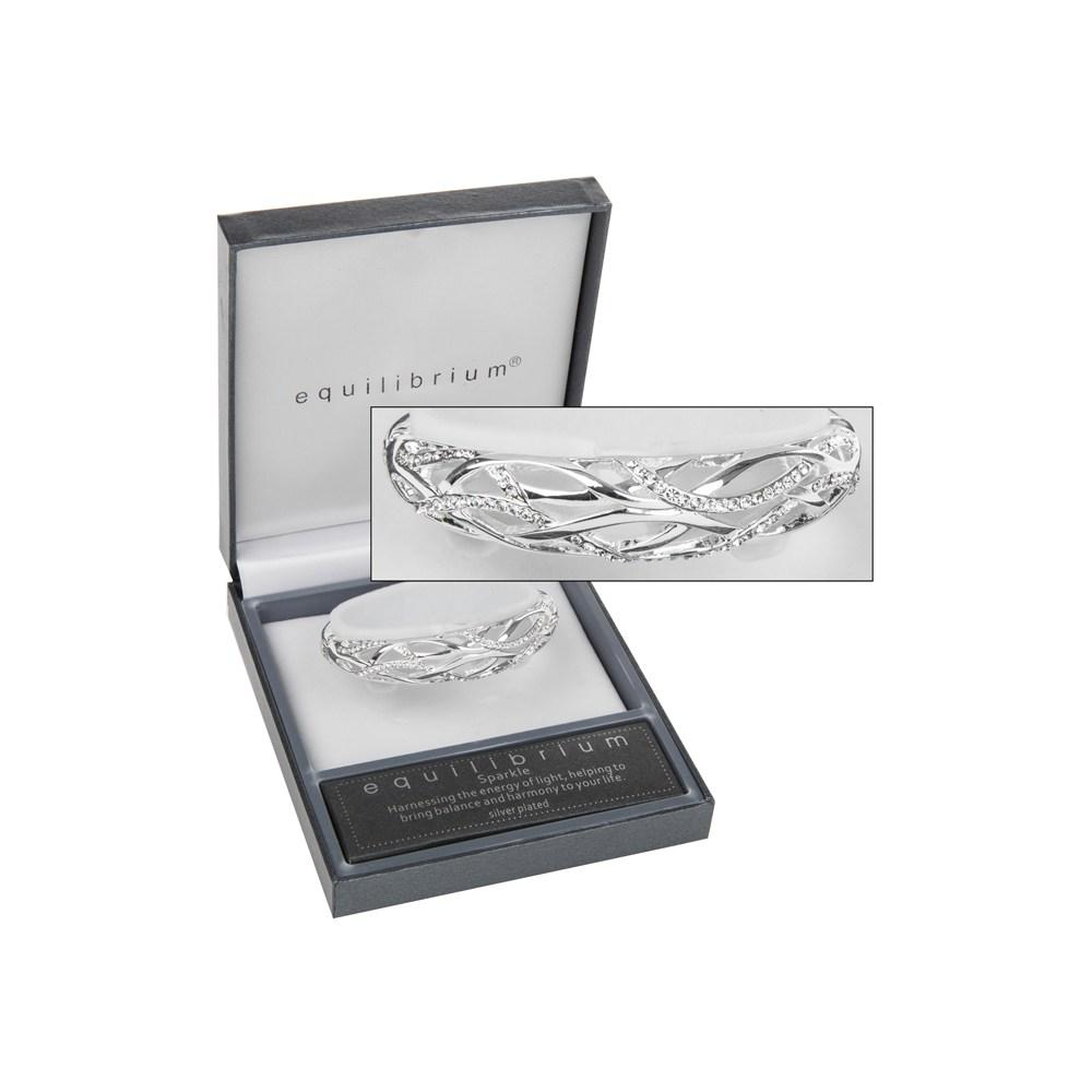 Diamante Wave Bracelet Silver Plated Bangle Boxed By Equilibrium