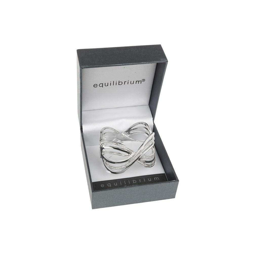 Criss Cross Diamante Bracelet Silver Plated Bangle Boxed By Equilibrium