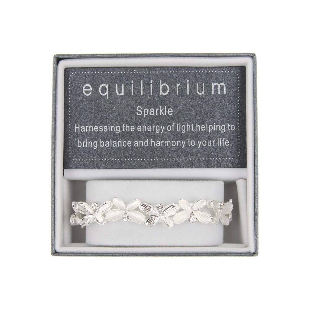 White Silver Plated Butterfly Slim Bracelet Bangle Boxed By Equilibrium