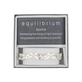 White Silver Plated Butterfly Slim Bracelet Bangle Boxed By Equilibrium Thumbnail 1