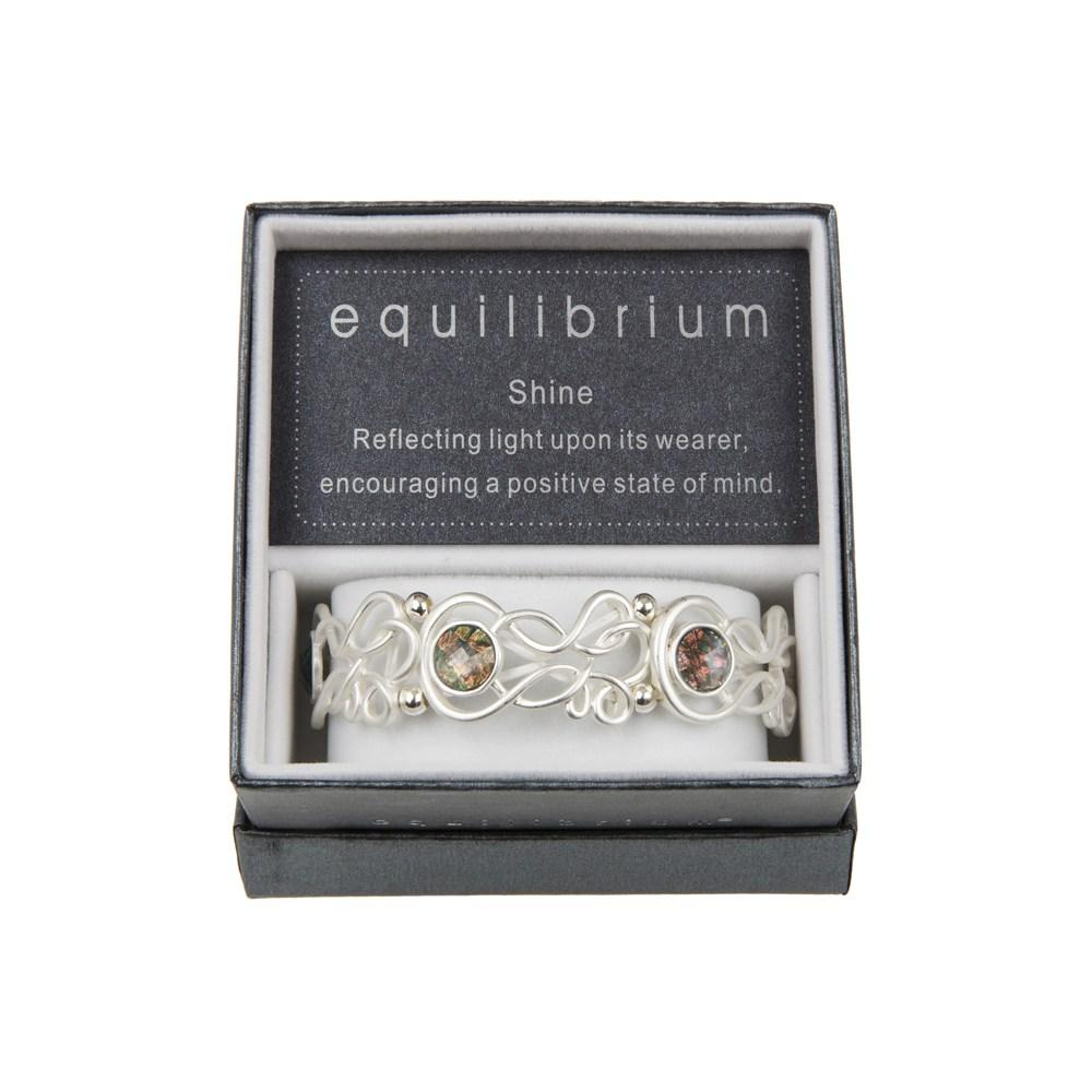 Silver Plated Filigree Teardrop Bracelet In White Gift Boxed Loops Equilibrium