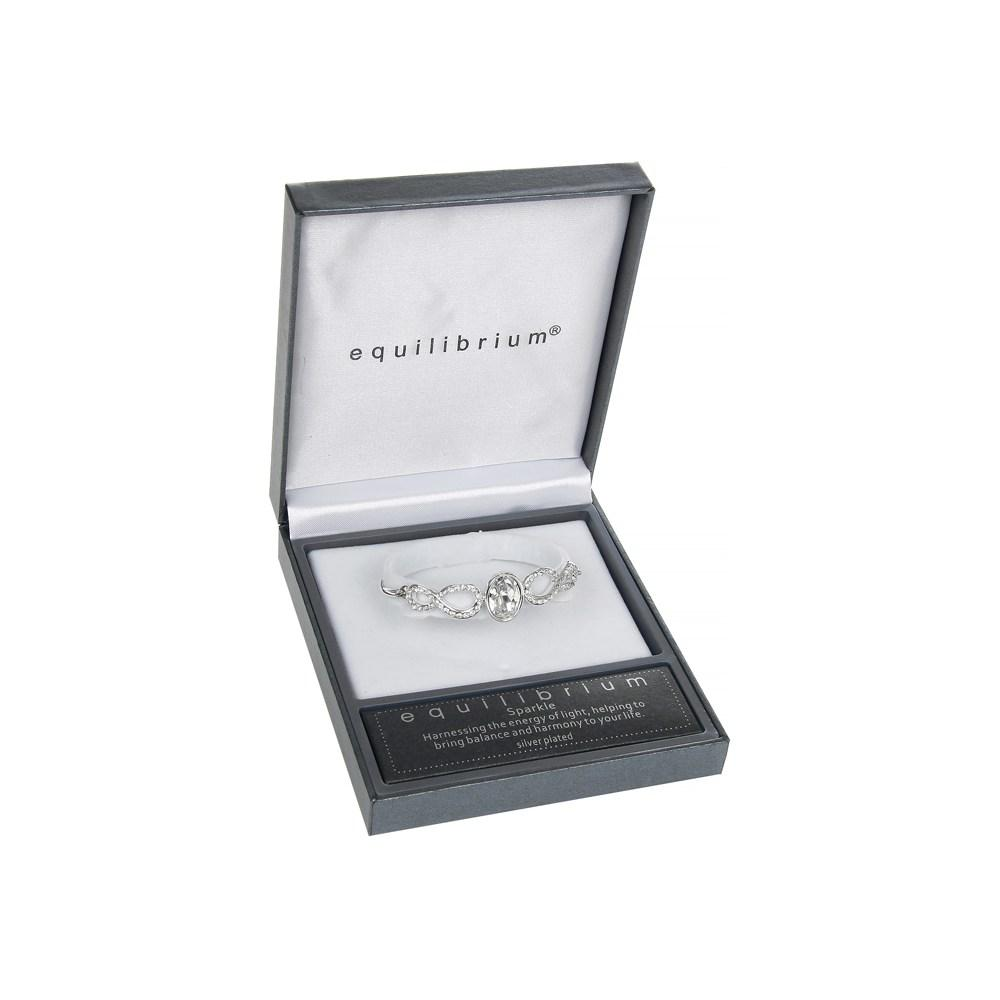Teardrop Silver Plated Bangle With Clear Jewel Bracelet Boxed By Equilibrium