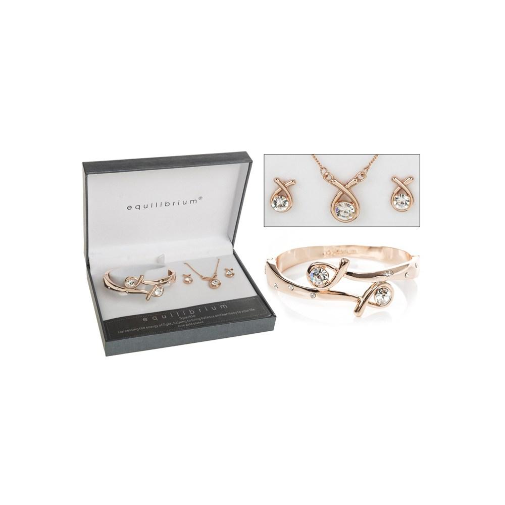 Rose Gold Plated Kiss Bangle Earring Necklace Bracelet Set Boxed By Equilibrium