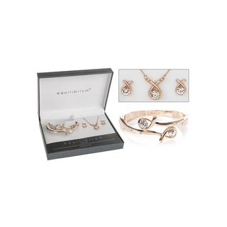 Rose Gold Plated Kiss Bangle Earring Necklace Bracelet Set Boxed By Equilibrium Thumbnail 1