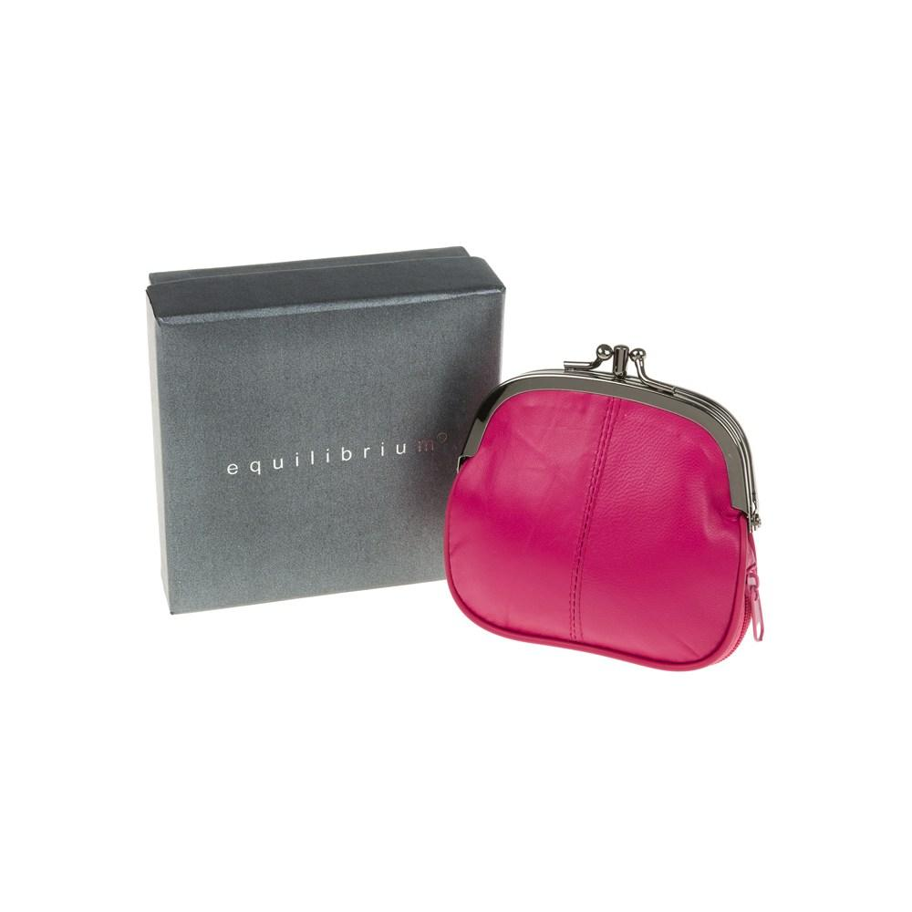 Real Leather Small Purse In Fuchsia In Gift Box By Equilibrium