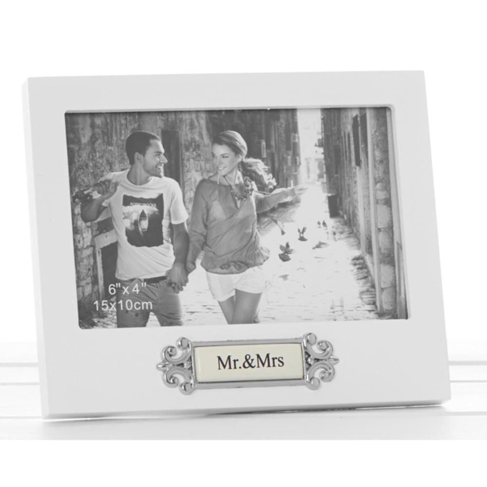 """Loved Ones Mr & Mrs Sentiment White Picture Photo Frame - 6"""" X 4"""" - Perfect Gift"""