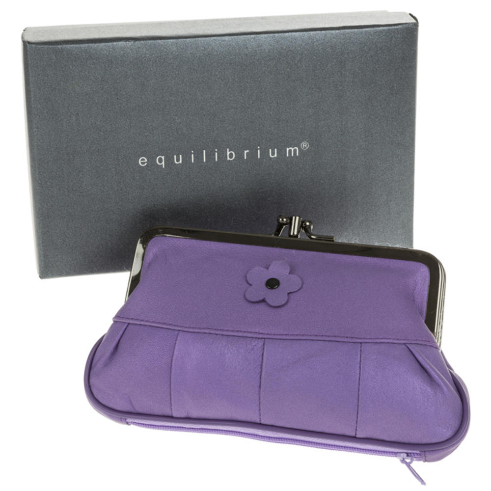 Real Leather Large Purse In Purple With Flower In Gift Box By Equilibrium
