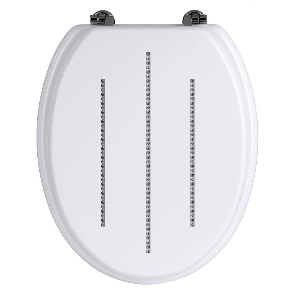 Premier White Toilet Seat With Zinc Alloy Fixings & Diamante Detailing Bathroom