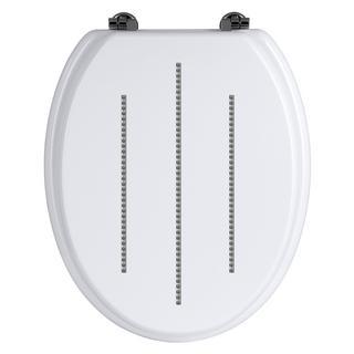 Premier White Toilet Seat With Zinc Alloy Fixings & Diamante Detailing Bathroom Thumbnail 1