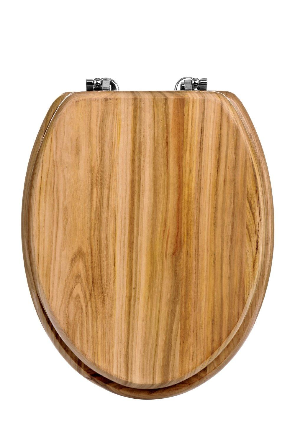"Premier 18"" Pine Toilet Seat With Zinc Alloy Fixings Modern Bathroom"