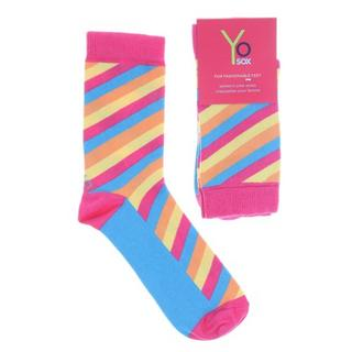 Yo-Sox Ladies Womens Crew Socks - Diagonal Stripe Design - One Size Fits All Thumbnail 1