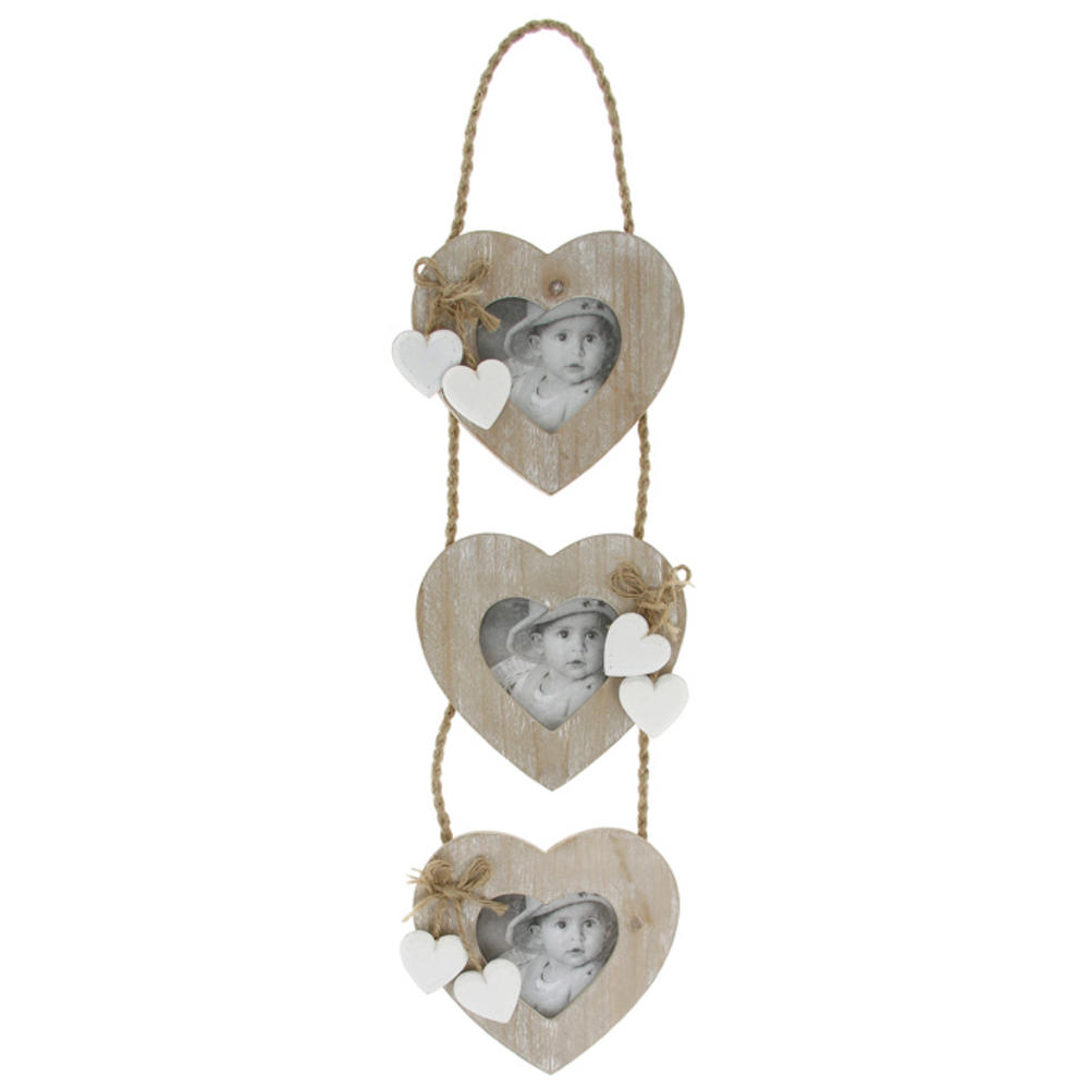Provence Brown 3 Heart Hanging Picture Photo Frame