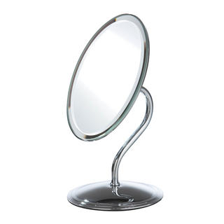 Chrome Effect Free Standing Modern Bathroom Shaving Oval Mirror Thumbnail 1