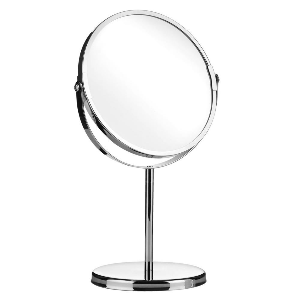 Chrome Effect Free Standing Modern Bathroom Shaving Swivel Magnifying Mirror