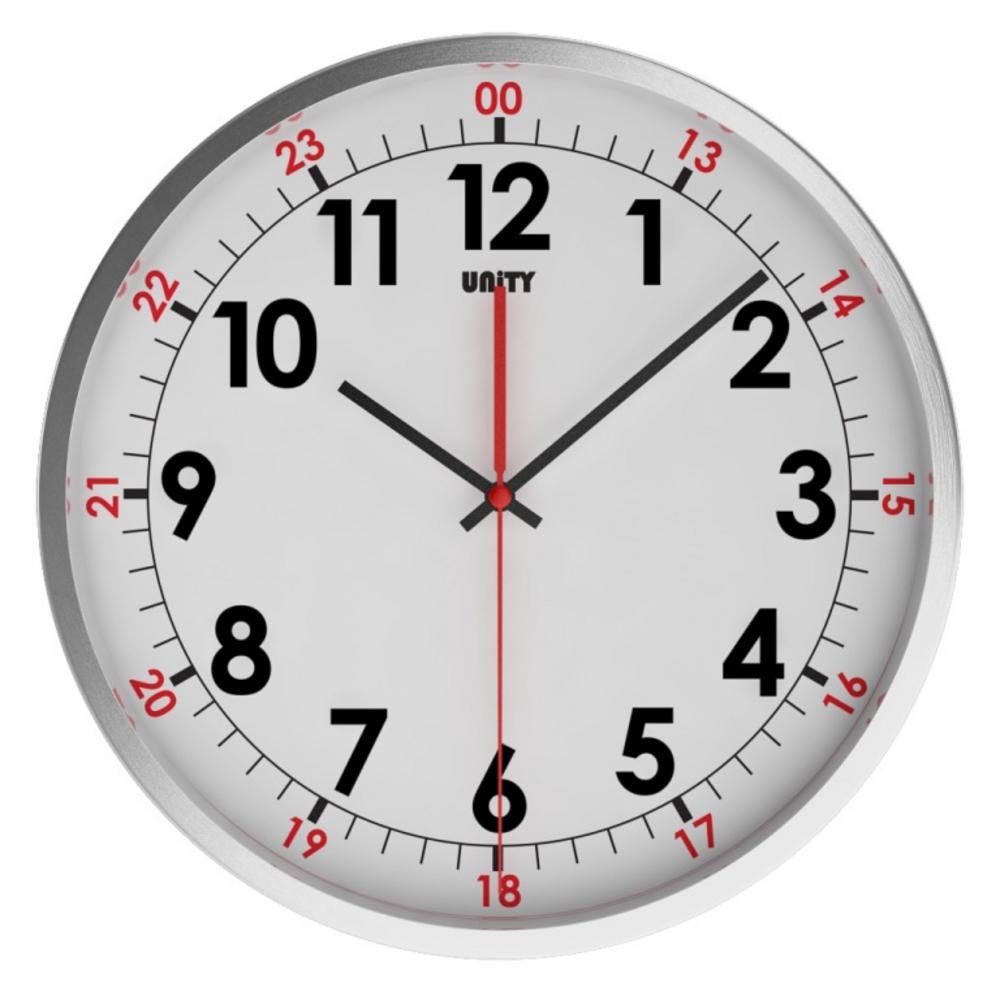 Unity Avon Silent Sweep Non-Ticking 30Cm Contemporary White Dial Wall Clock