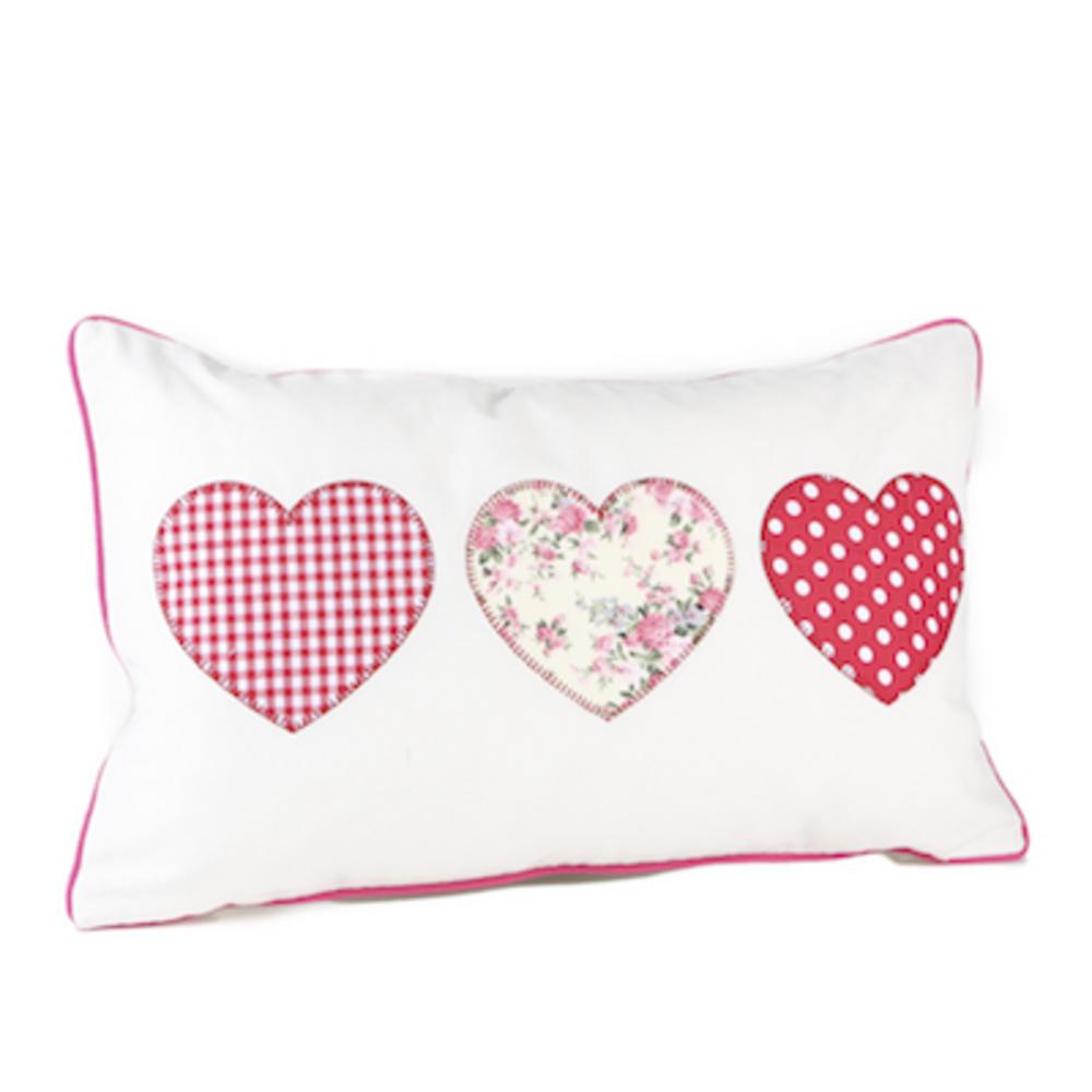 Malini Amore Applique Triple Heart Cushion