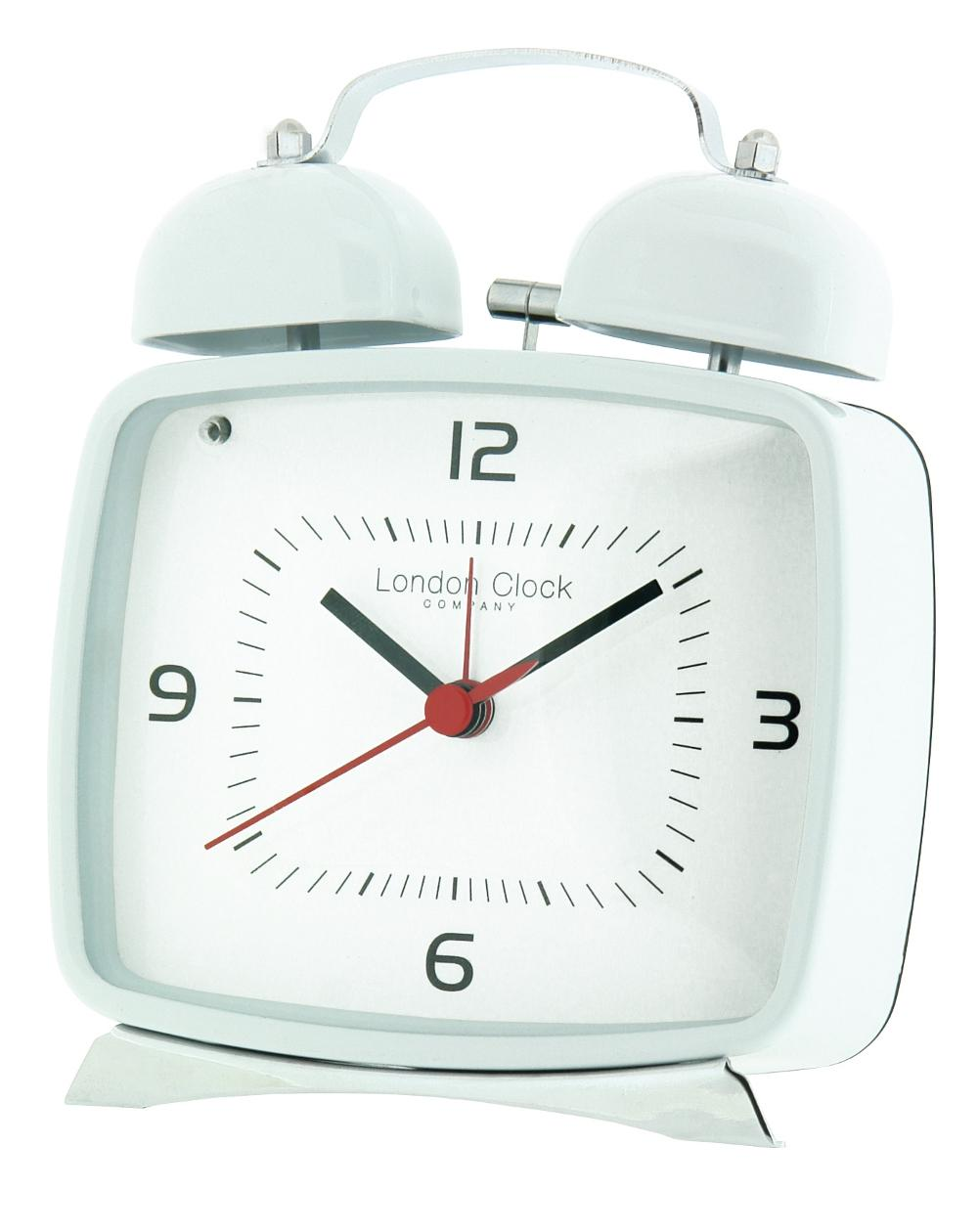White Metal Retro Twin Bell Alarm Clock
