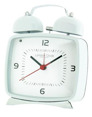 White Metal Retro Twin Bell Alarm Clock Thumbnail 1