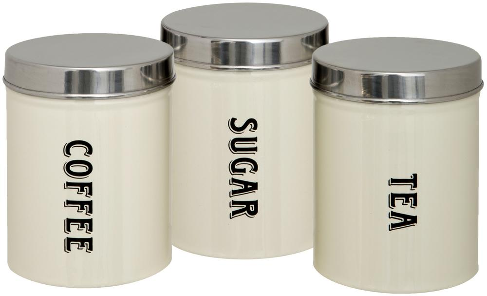 Set of Three Tea Coffee Sugar Canisters