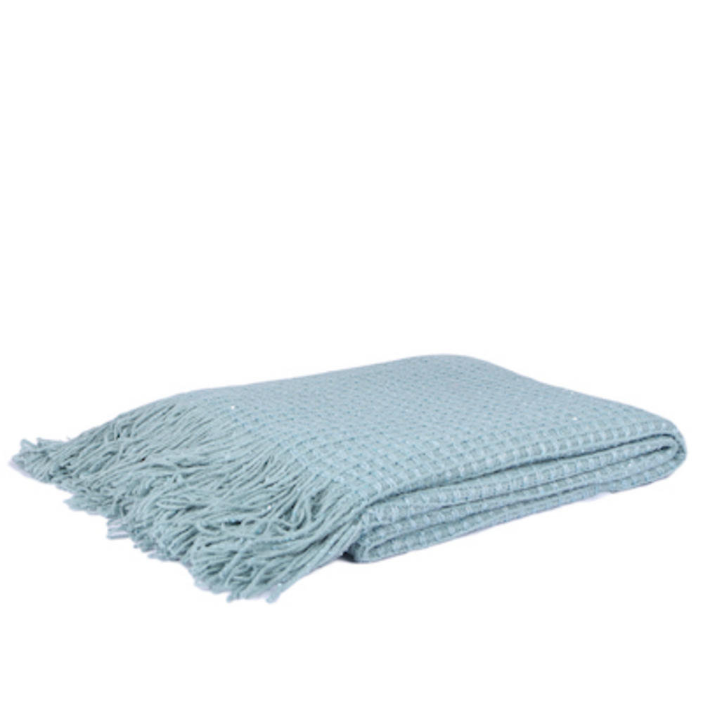 Malini Grid Knitted Throw in Duck Egg Blue
