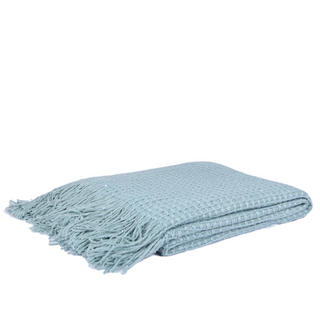 Malini Grid Knitted Throw in Duck Egg Blue Thumbnail 1