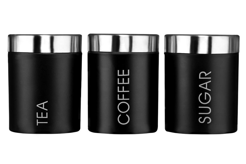 Tea, Coffee and Sugar Set, Black Enamel, Satin Stainless Steel Lids