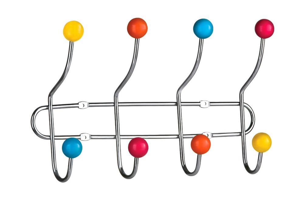 Wall Hanger, Chrome 8 Hook, Multi Colour Plastic Balls
