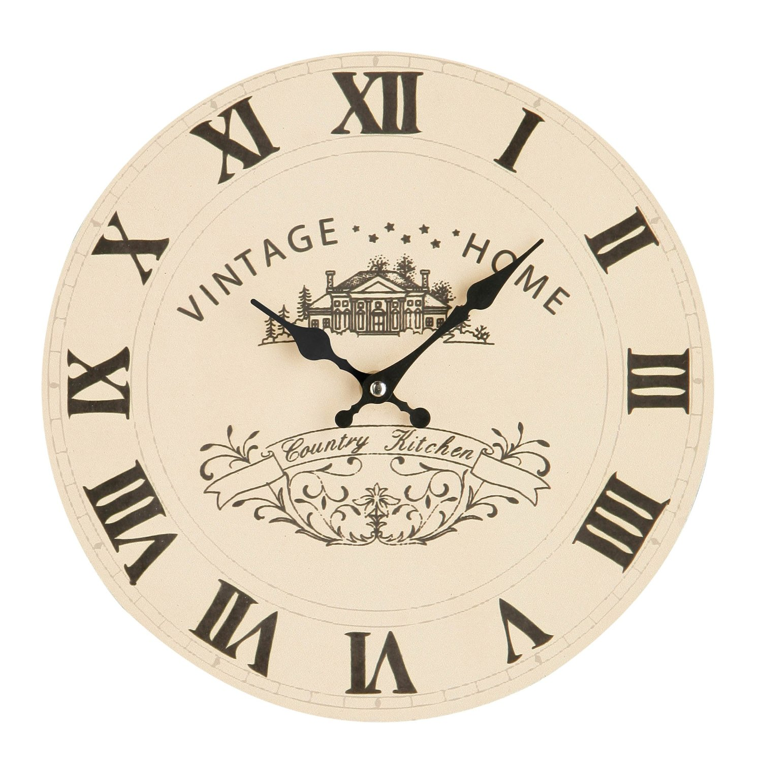CREAM VINTAGE HOME WALL CLOCK WITH ROMAN NUMERALS 12 INCH