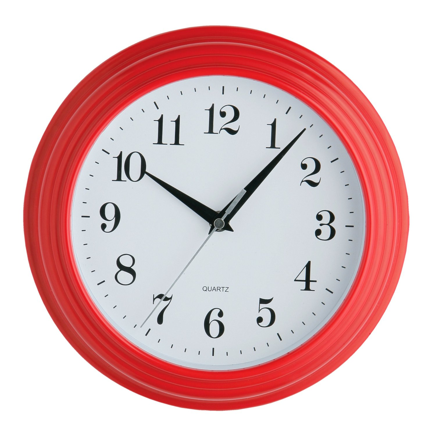 VINTAGE RED WALL CLOCK SMALL 26CM DIAMETER RETRO QUARTZ