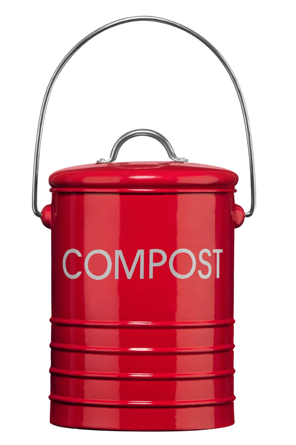 red galvanised metal kitchen small compost bin caddy food recycle