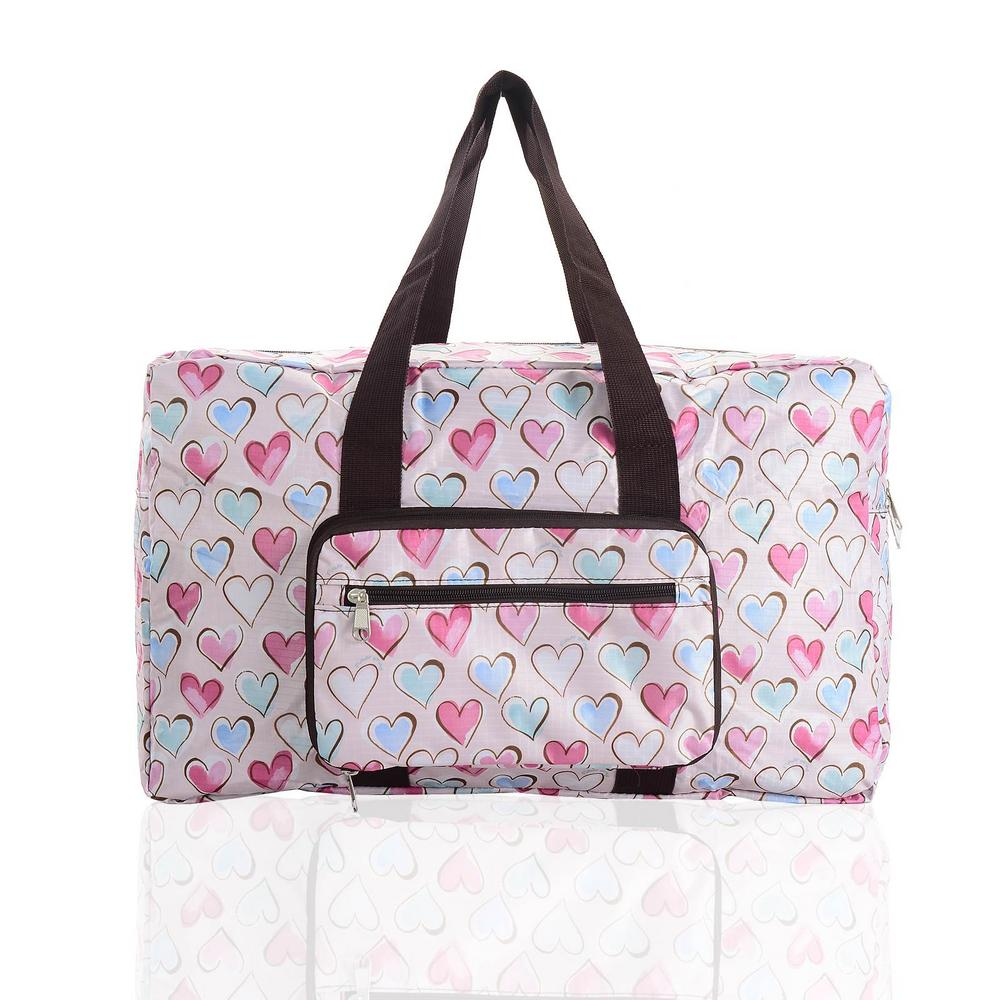 Fold Away Expandable Cabin Holdall Bag - Pink Heart
