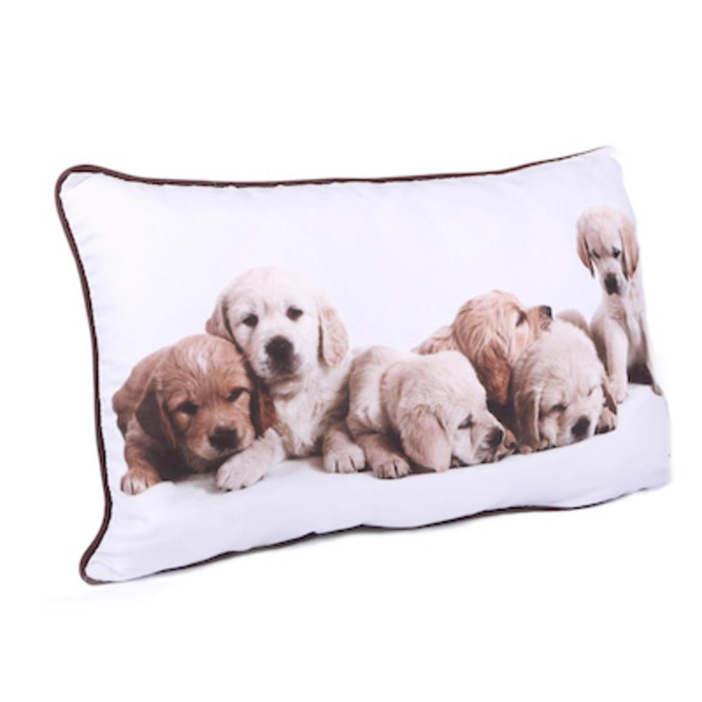 Malini White Puppies Cushion