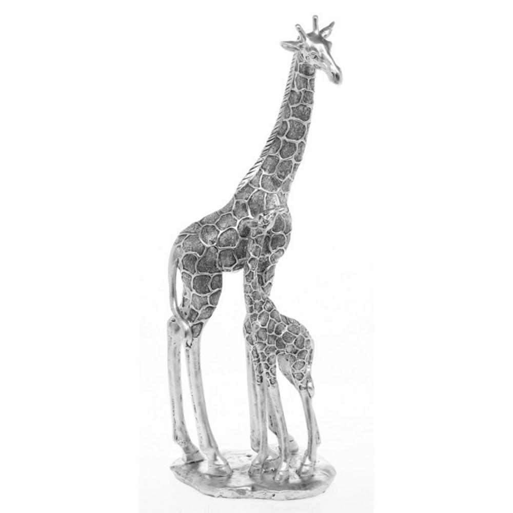 Soft Silver Giraffe Mum & Baby