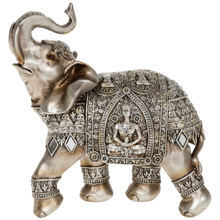Silver elephant with engraved buddha ornament oriental African elephant home decor