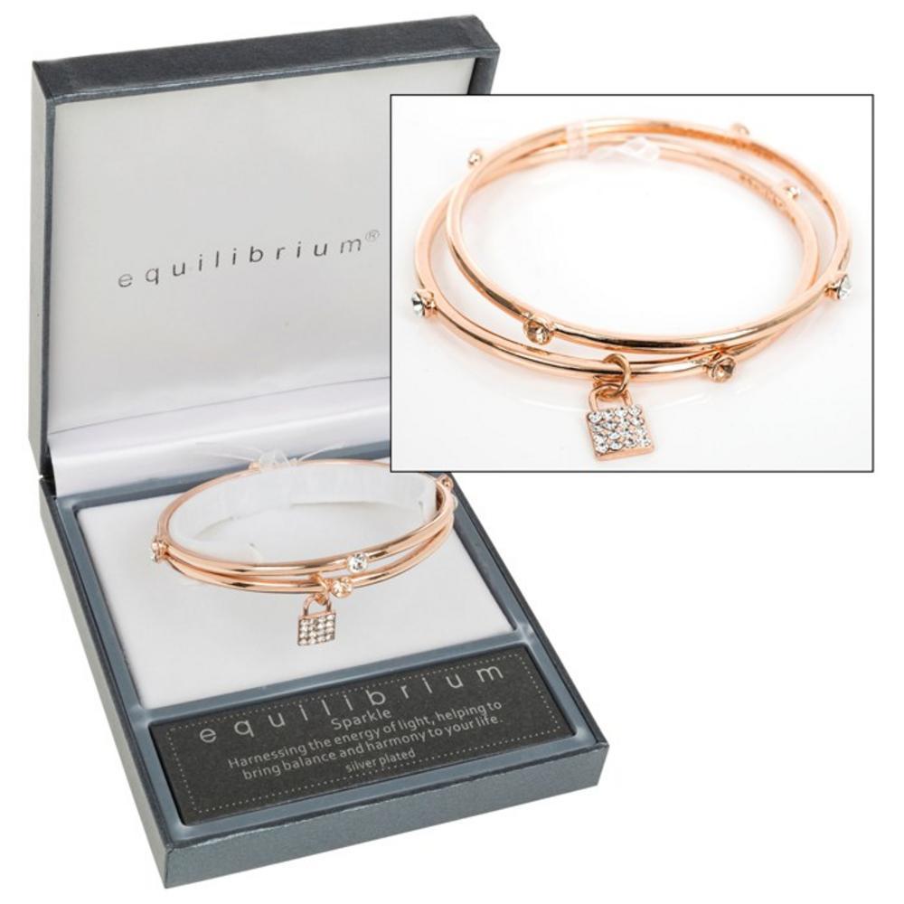 Rose Gold Crystal Lock Bracelet
