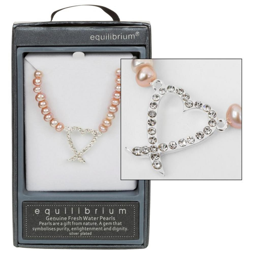 Pink Pearl Necklace with Diamante Heart